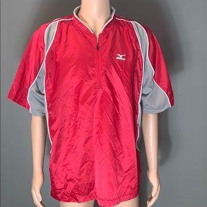 Mizuno Mens Red Lightweight Zip T-shirt SZ.XL